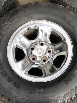 17 inch Silver Ram wheels with 285/70/17 Back Country All Terrain tires for Sale in Milwaukie,  OR