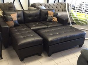 Brand New Espresso Bonded Leather Sectional Sofa Couch + Ottoman for Sale in Kensington, MD