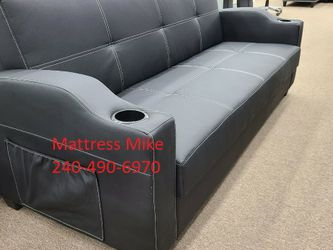 FREE Local Curbside Delivery New Box Black Faux Leather Sofa Bed Under Storage Cup Holder for Sale in College Park,  MD