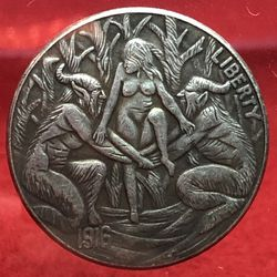 Demons Holding Woman. Tibetan Silver Coin. First $20 Offer Automatically Accepted. Shipped Same Day for Sale in Portland,  OR