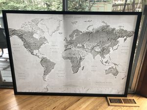 Large World Map Canvas and Frame for Sale in Adelphi, MD