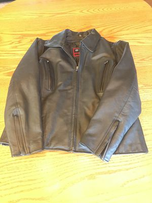 Black leather motorcycle jacket for Sale in Butte, MT