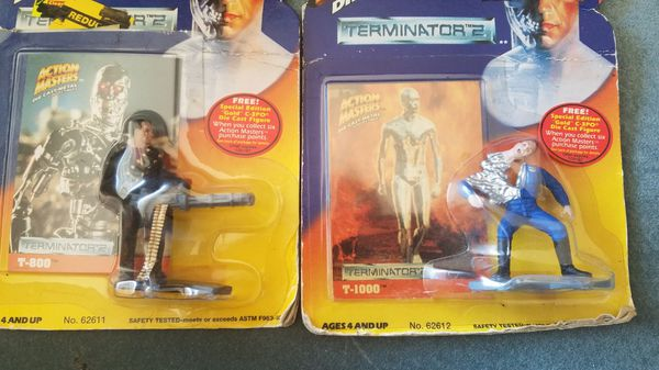 Action Masters Terminator 2 T-800 + T-1000 Die Cast Metal Collectible Figure by Kenner
