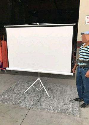 "Brand new 100"" portable projector screen 16:9 ratio wide screen with tripod pull up matte white for Sale in Pico Rivera, CA"