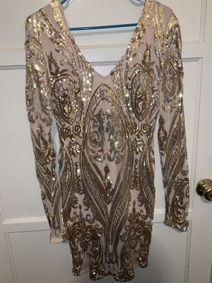 Long Sleeve Gold Glitter Dress for Sale in Los Angeles, CA
