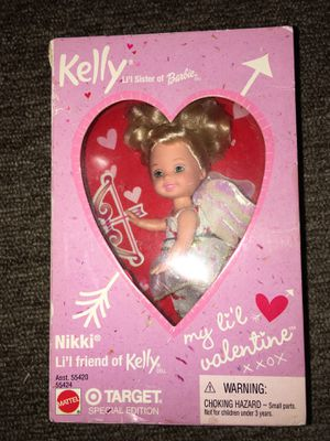 """Special Target Edition 2001 """"Kelly"""" Valentine's Day now and arrow doll. And Special Edition 2001 """"Kelly"""" in a valentines dress doll. for Sale in Waterbury, CT"""