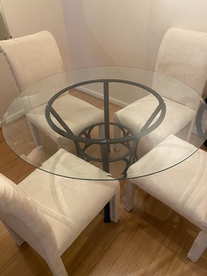 Suede Chairs with Glass Breakfast Table for Sale in VA, US