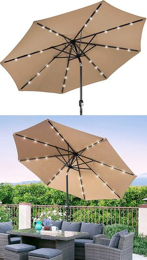 Brand New $60 each 10' FT Outdoor Patio Umbrella with Solar Powered LED Light Tilt Crank for Sale in South El Monte, CA