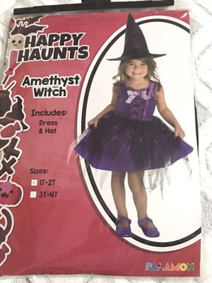 Brand New HAPPY HAUNTS Amethyst Witch Includes Dress & Hat Sizes IT-2T for Sale in Nashville, TN