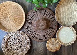 • 6x wicker woven baskets wall hanging boho • for Sale in Issaquah, WA