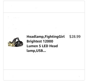 Headlamp-Brightest 12000 Lumen 5 LED Head lamp/USB Waterproof Headlight Flashlight w/Zoomable Work Light-Head Lights for Camping/Running/Hiking for Sale in Miami, FL