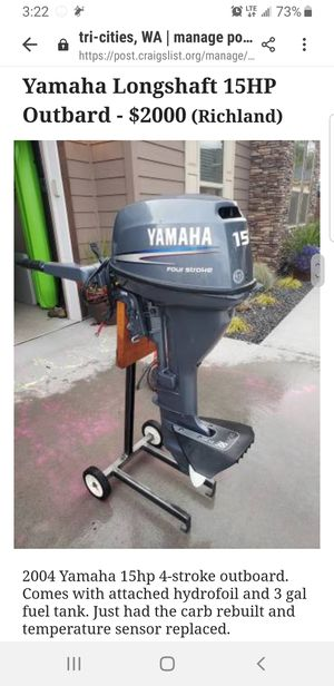 Yamaha 15HP Outboard for Sale in Richland, WA