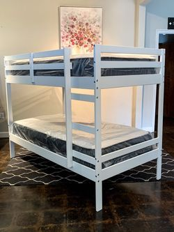 Twin Over Twin White Bunk Bed & Brand New Plush Mattress Free Delivery for Sale in Dallas,  TX