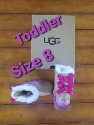 New Size 8 toddler girls ugg designer fashion water resistant boots pink shimmer bailey bow II for Sale in Gilbert, AZ