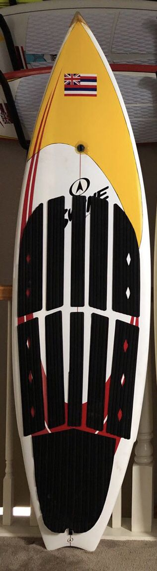 "Byrne 6' -6"" surfboard. Epoxy! Soft grip deck, no need for messy wax. Tri fin with FCS system. $250"