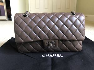 Chanel classic flap bag brown taupe lambskin medium silver hardware for Sale in Irvine, CA