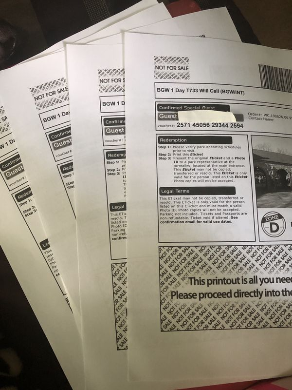 4 Busch garden tickets