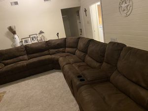Brown microsuede sectional from Havertys for Sale in Dripping Springs, TX