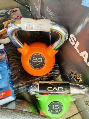 Orange rubberized 20 lb kettlebell for Sale in Davie, FL