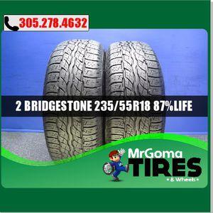2 BRIDGESTONE DUELER H/T 687 M+S 235/55/18 USED TIRES 8.7/32 100H AUDI 2355518 for Sale in Miami, FL