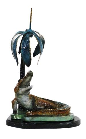 Crocodile Bronze Statue on marble base for Sale in Sanford, FL