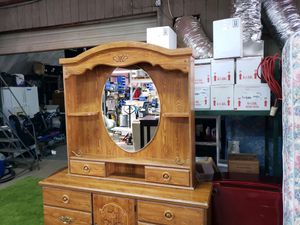 Dresser and mirror with storage for Sale in Mooresville, NC