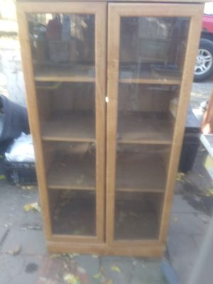 3 shelf cabinet with glass doors for Sale in Wichita, KS
