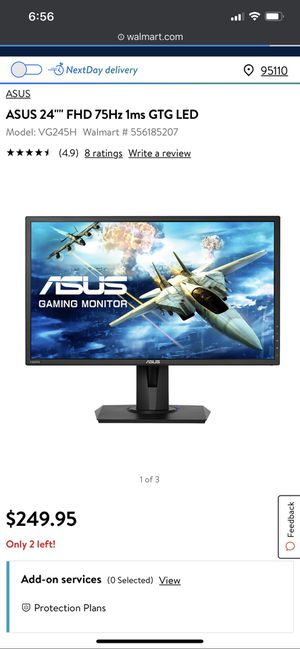 Asus gaming monitor VG245 75hz 1ms response time for Sale in Lompoc, CA