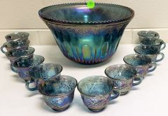 Carnival glass punch bowl with glasses for Sale in Prince George, VA