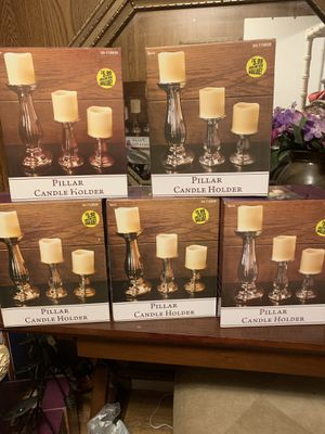 Pillar candle holders and LED candles for Sale in San Antonio, TX