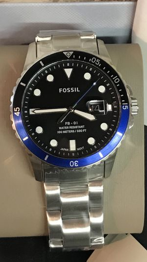 Fossil Men's 42mm Blue Pepsi Dial Stainless Steel Watch for Sale in Buena Park, CA