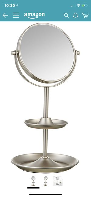 "AmazonBasics Tabletop 5"" Vanity Makeup Mirror with 1x/5x Magnfication and Accessory Shelves, Silver Nickel for Sale in Las Vegas, NV"