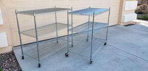 Short Chrome wire Baker rack shelf shelves on wheels for Sale in Buckeye, AZ
