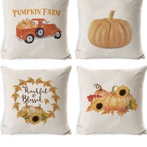 DUSEN Decorative Throw Pillow Covers for Couch, Sofa, or Bed Set of 4 18 x 18 inch Farmhouse Fall Pumpkin Cotton Linen Cusion Cover (Fall Pumpkin 1) for Sale in Glendale, AZ