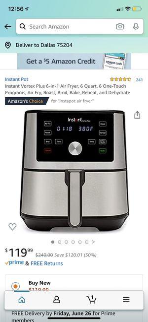 Instant Pot Instant Vortex 6-in-1 Air Fryer for Sale in Dallas, TX