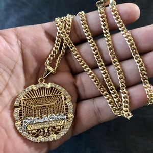 """18kmgl(gold-filled not plated or stainless ) Last Supper pendant & 5mm 30"""" Inch cuban link chain , includes warranty for Sale in Tampa, FL"""