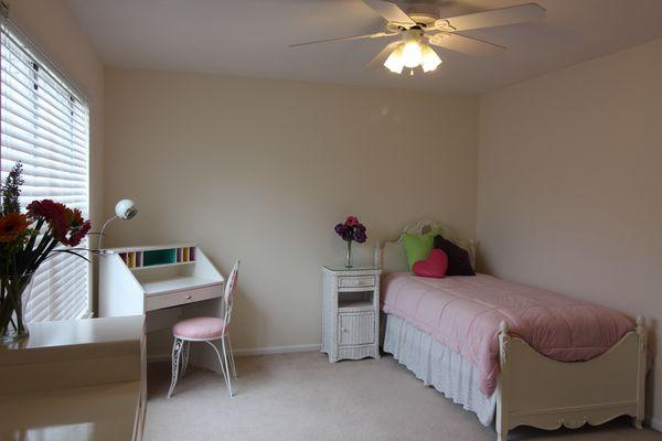 Childcraft dresser & bookcase, twin bed, desk, chair & wicker nightstand