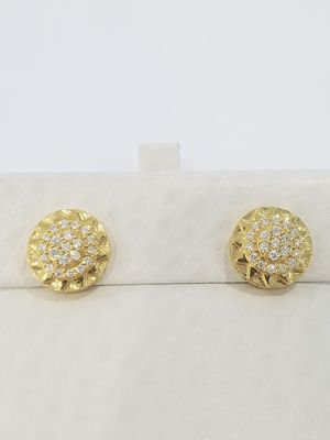 Black Friday Special Real 10k Yellow Gold .50CT Diamond Round Lifted Halo Kite Earrings for Sale in Richmond, TX