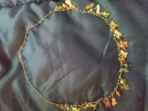 Antique silver& gold washed cat necklace w glass bead detail for Sale in Richland, WA