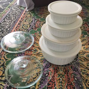 Corningware French White Stoneware Set of 4 w/Lids for Sale in Larkspur, CA
