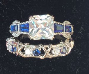 Sterling silver white and blue sapphire set for Sale in Baltimore, MD