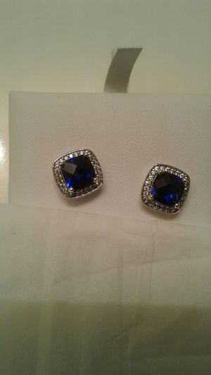 Sterling Silver Diamond and Sapphire ear rings for Sale in Germantown, MD