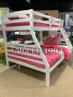 White full/twin bunkbed w Mattress Included for Sale in San Joaquin, CA