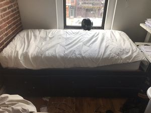 Twin Mattress With 6 drawer storage - DEEP drawers. Goodcondition minor scuffs for Sale in New York, NY