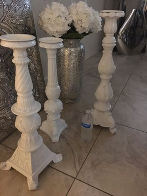 3 White Tall Candle Holders for Sale in Bell Gardens, CA