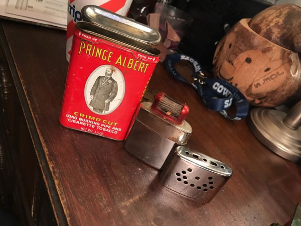 Antique lighter and tobacco canister