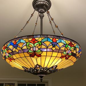 Colorful Antique Stained Glass Chandelier for Sale in Ansonia, CT