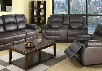 Reclining set 3pc Brown Bonded leather for Sale in Kent,  WA