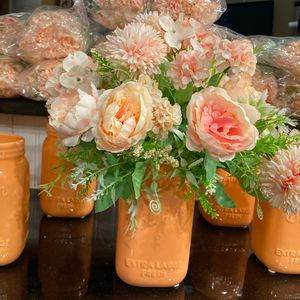 Deb Lilly Vases 10 Each Peach With 24 Stems Of Light Peach Pink Silk Flowers for Sale in Rowlett, TX