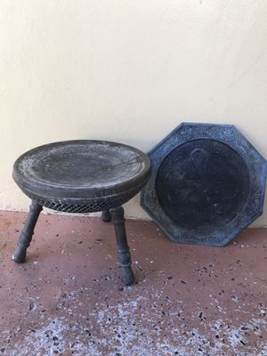 Antique Indian Brass stool with brass plate for Sale in Miami, FL